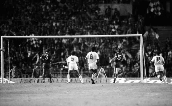 Football - 1984 European Cup Final - Liverpool 1* Roma 1 (*won 4-2 on pen a.e.t.)   Roberto Pruzzo's goal for Roma, at the Stadio Olimpico, Rome. Liverpool's Alan Kennedy (#3) and Ronnie Whelan (#5)   30/05/1984