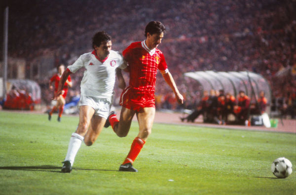 Football - 1984 European Cup Final - Liverpool 1* Roma 1 (*won 4-2 on pen a.e.t.)     Liverpool's Ian Rush with Roma's Michele Nappi challenging at the Stadio Olimpico, Rome.     30/05/1984