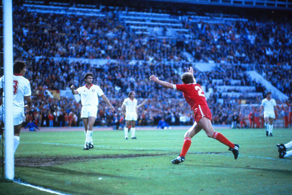 Football - 1984 European Cup Final - Liverpool 1* Roma 1 (*won 4-2 on pen a.e.t.)   Phil Neal celebrates scoring for Liverpool to put them 1-0 ahead, at the Stadio Olimpico, Rome.   30/05/1984