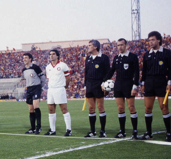 Football - 1984 European Cup Final - Liverpool 1* Roma 1 (*won 4-2 on pen a.e.t.)   (l-r) Roma captain Agostino Di Bartolomei, goalkeeper Franco Tancredi, Swedish match officials: referee Erik Fredriksson with linesmen Hans Harrysson and Hakan Lundgren