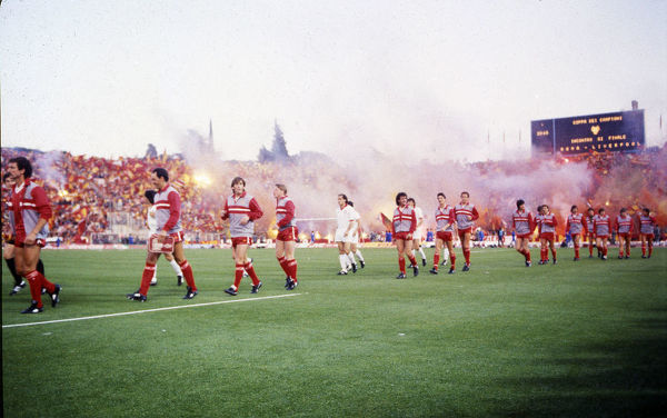 Football - 1984 European Cup Final - Liverpool 1* Roma 1 (*won 4-2 on pen a.e.t.)     Liverpool captain Graeme Souness (far left) leads his team out, at the Stadio Olimpico, Rome. Bruce Grobbelaar, Kenny Dalglish, Sammy Lee, Craig Johnston, Ian Rush