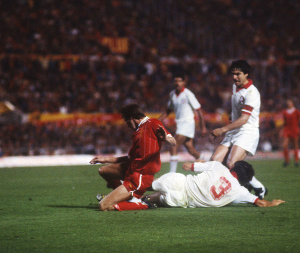 Football - 1984 European Cup Final - Liverpool 1* Roma 1 (*won 4-2 on pen a.e.t.)     Roma captain Agostino Di Bartolomei, right, as teammate Dario Bonetti (#3) tackles, at the Stadio Olimpico, Rome.     30/05/1984
