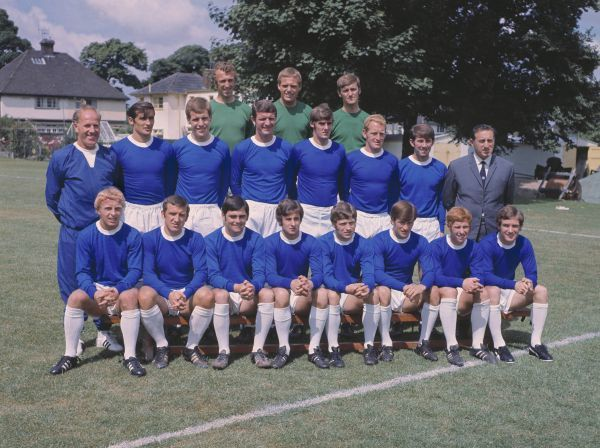 Football - Everton F.C. 1969 / 1970 - Team Group Photocall  Back row (left to right): Geoff Barnett, Gordon West, Andy Rankin.  Middle row: W.Dixon (trainer), John Hurst, Joe Royle, Brian Labone, Roger Kenyon, Sandy Brown, Howard Kendall, Harry Catterick