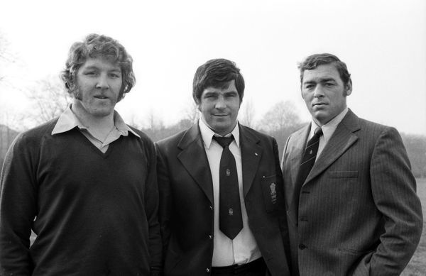 Rugby Union - 1974 / 1975 WRU Challenge Cup - Quarter-Final: Pontypool 9 Llanelli 18 The famous Pontypool front row of (left to right) Graham Price, Bobby Windsor and Charlie Faulkner pictured after the game at Pontypool Park