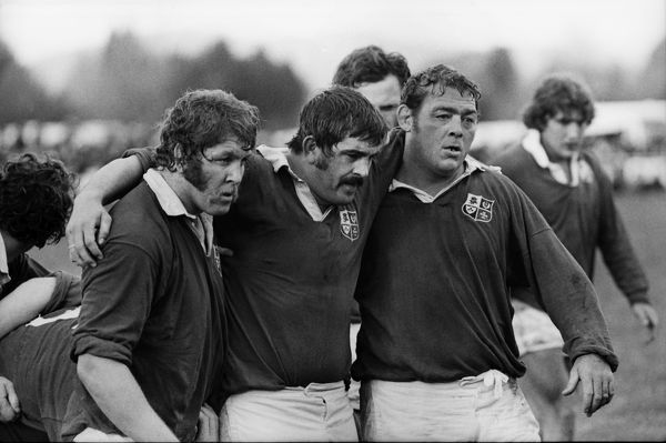 Rugby Union - 1977 British Lions Tour to New Zealand - Bay of Plenty 16 British Lions 23 (09/08/1977) The Famous Pontypool Front row playing for the British Lions in Rotorua. Left to right, Graham Price, Bobby Windsor and Terry 'Charlie' Faulkner