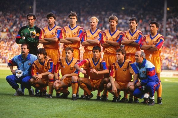 Barcelona Team Group, 1992 European Cup Final (Pep Guardiola front row, third from right) Wembley Stadium Barcelona v Sampdoria; Barcelona won the game 1-0 a