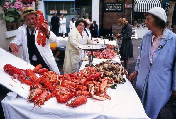Horse racing : The Fish stall in the high street at Royal Ascot meeting 21/06/1973 Credit : Colorsport