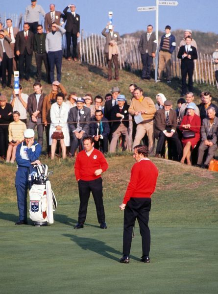 Golf - 1969 Ryder Cup - Great Britain & Ireland 16 USA 16 (USA retains trophy) Great Britain's & Ireland's Brian Huggett and Alex Cayhill during their day 2 morning four-ball at Royal Birkdale. They halved with the USA pairing of Raymond Floyd
