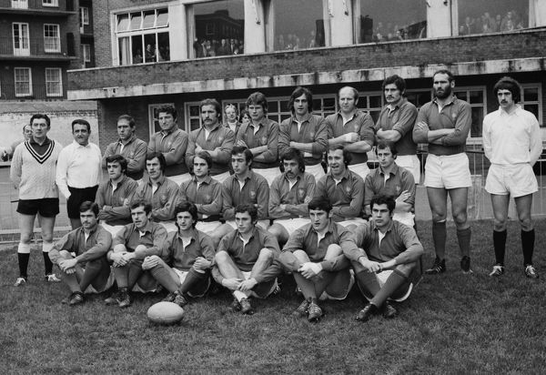 Rugby Union - 1974 Five Nations Championship - Wales 16 France 16 The French team group before kick-off at Cardiff Arms Park on 16/02/1974. Standing (left to right): Mr R Lewis (Touch-judge - WRU), Mons L Comte (Touch-judge - FFR), Rene Benesis