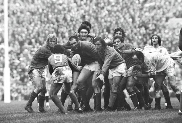 Rugby Union - 1975 Five Nations Championship - England 20 France 27 France's Armand Vaquerin gets the ball back to Richard Astre (#9), with teammates Jean-Pierre Rives, far left, Alain Esteve, second left and Alain Paco, right, at Twickenham