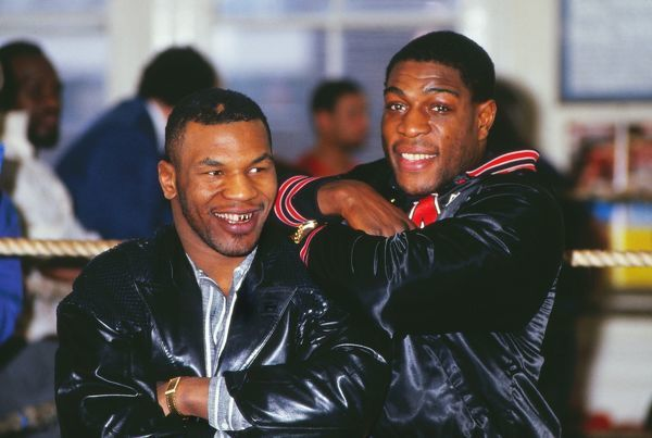 Boxing Frank Bruno and Mike Tyson meet at Bruno's training camp on 01/03/1987