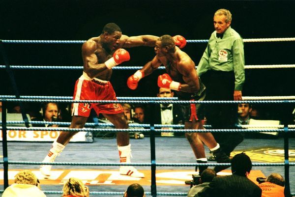 Boxing - 1995 WBC Heavyweight Title Fight - Frank Bruno vs. Oliver McCall Bruno, left, at Wembley Stadium