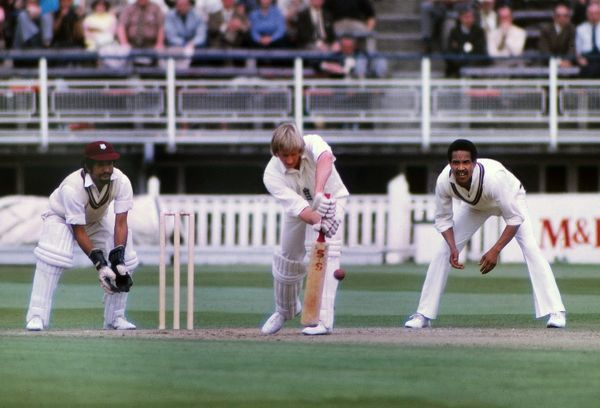 Cricket - 1973 West Indies Tour of England - First One Day International (ODI) at Edgbaston Frank Hayes (Lancashire) bats for England, with Deryck Murray keeping and Gary Sobers fielding close