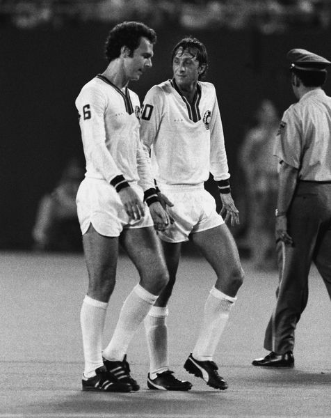 Football - New York Cosmos 2 World All Stars XI 2 (30/08/1978) Johan Cruyff and Franz Beckenbauer of the Cosmos during the game in Giants Stadium, New York