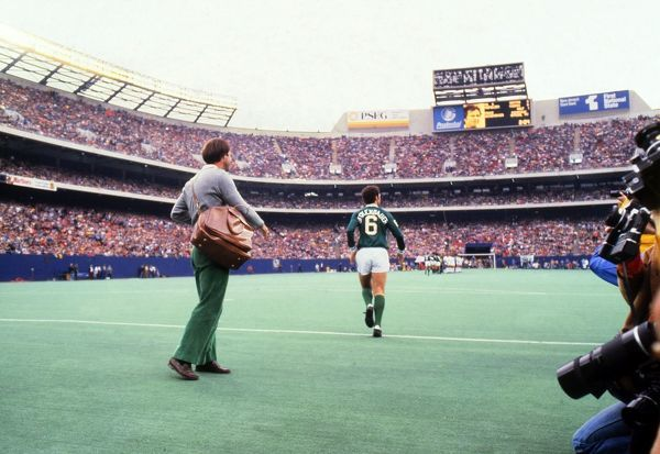 Franz Beckenbauer runs out at Giants Stadium for Pele's farewell game