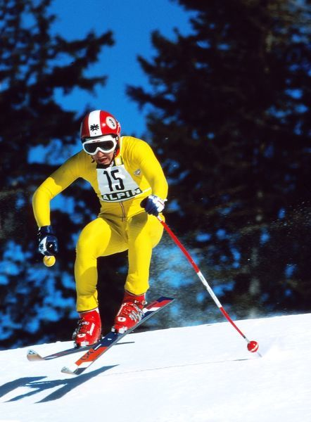 Skiing - 1976 Innsbruck Winter Olympics - Mens Downhill Gold Medal winner Franz Klammer of Austria at Patscherkofel, Igls