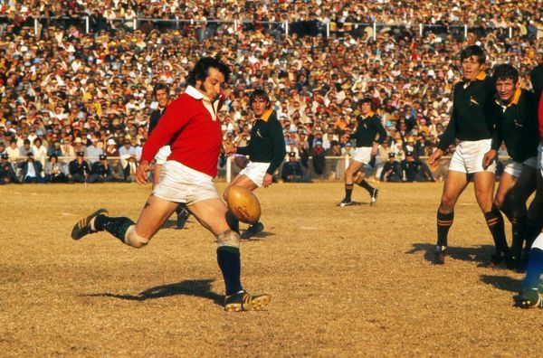 Rugby Union - 1974 British Lions tour to South Africa - Third Test: South Africa 9 British Lions 26 (13/07/1974) Lions scrum half Gareth Edwards punts the ball during the Third Test at the Boet Erasmus Stadium, Port Elizabeth