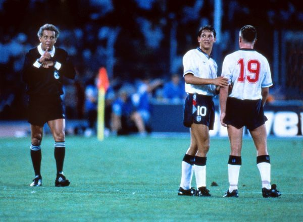 Gary Lineker consoles Paul Gascoigne during the semi-final against West Germany at Italia 90