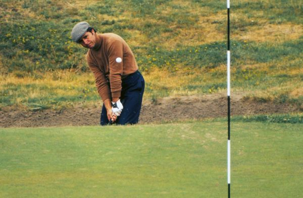 Gary Player chips to the green. 1974 Open Championship, Royal Lytham & St Annes Golf Club. Player won the tournament by 4 strokes
