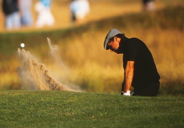 Gary Player plays a bunker at the 1988 Open Championship. Royal Lytham & St Annes Golf Club