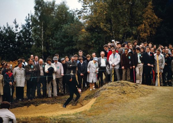 Gary Player hits out of a bunker 1972 Picadilly World Match Play Championship Wentworth