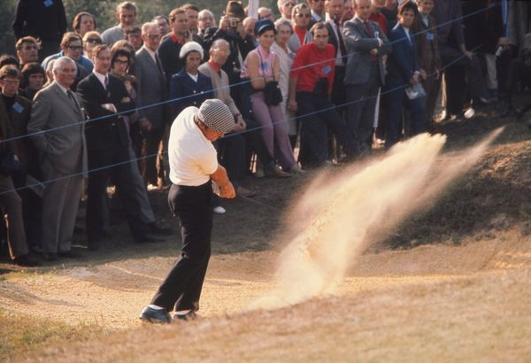 Gary Player (South Africa) plays out of a bunker. 1974 Open Championship, Royal Lytham & St Annes Golf Club