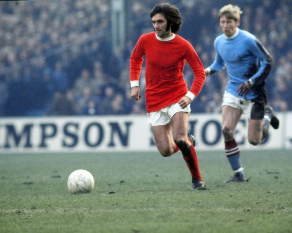 Football - English Division One - Manchester City vs. Manchester United George Best of Man Utd, chased by Colin Bell of Manchester City