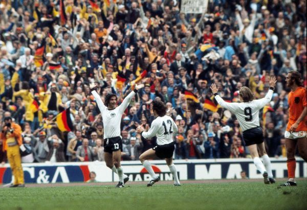 Gerd Muller celebrates scoring the winning goal in the 1974 World Cup Final
