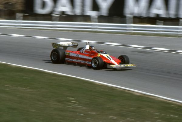 Motorsport - 1979 F1 Formula One World Championship - British Grand Prix Gilles Villeneuve (Canada) in his Ferrari on the way to finishing 14th at Silverstone