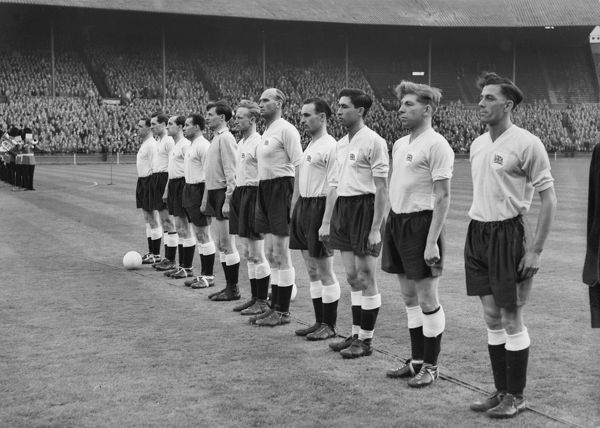 The Great Britain football team line-up at Wembley before taking on Bulgaria in 1956