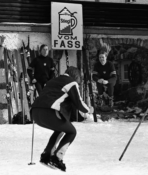Alpine Skiing The Great Britain Ladies ski team warm up for a training session in Novemeber 1970