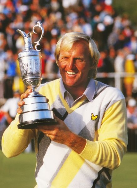 Greg Norman (AUS) with the British Open trophy. British Open Golf Championships 1986 @ Turnberry. Credit : Colorsport