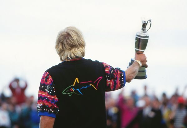 Golf 'The Shark' Greg Norman holds the Claret Jug to the crowd after winning the Open. 1993 Open Championship Royal St George's Golf Club, Sandwich