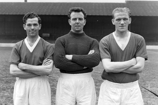 Football - 1955 / 1956 season - Leyton Orient photocall Left to right: Gordon 'Harry' Gregory, Patrick Welton, Thomas 'Tommy' Johnston 04/05/1956