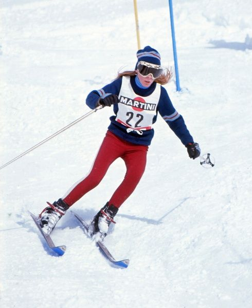 Alpine Skiing Great Britain's Helen Carmichael in the women's Slalom at Vipiteno in 1970