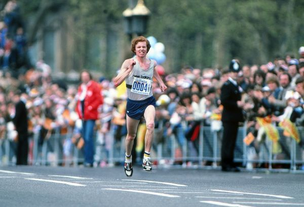 Athletics - London Marathon 1982  Hugh Jones winner of the Mens marathon sprints over Westminster bridge to cross the line first