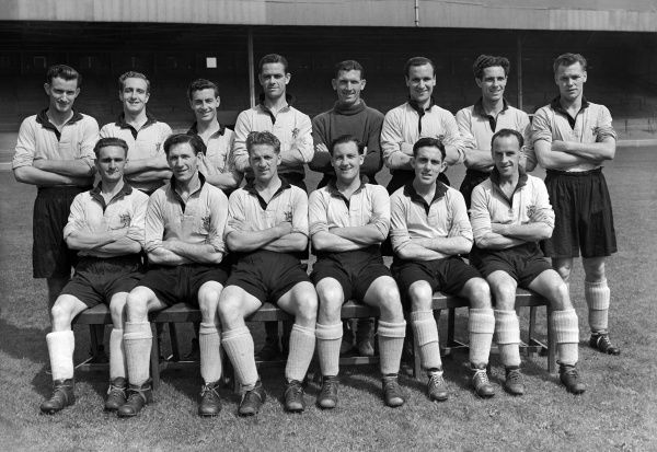 Hull City team group 1952/53 season. Back, l-r: D. Durham, E. Phillips, W. Hassall, T. Berry, J. Robinson, Neil Franklin, W. Harris, E. Tarrant