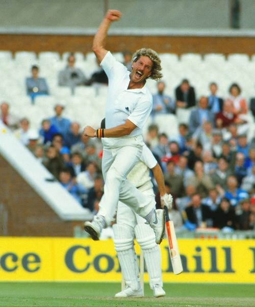 Ian Botham celebrates taking a wicket during the 1985 Ashes
