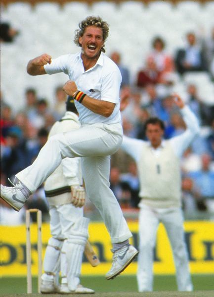 Cricket - 1985 Ashes Series - Fourth Test, England vs. Australia Ian Botham celebrates taking a wicket at Old Trafford