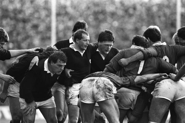 Rugby Union - 1987 Five Nations Championships - Scotland 16 Ireland 12  The Scottish front row prepare to scrum down at Murrayfield. Left to right: Ian Milne, Colin Deans and David Sole.  21/02/1987
