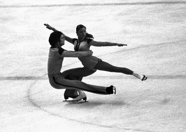 Figure Skating - 1976 Innsbruck Winter Olympics - Mixed Pairs East Germany's silver medalists Romy Kermer and Rolf Oesterreich, during the free skating phase at Olympic Ice Stadium, Innsbruck, Austria. The pair later married. 07/02/1976