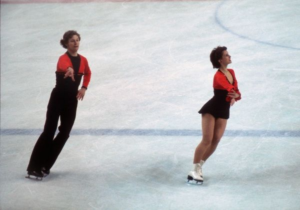 Figure Skating - 1976 Innsbruck Winter Olympics - Mixed Pairs East Germany's bronze medalists Manuela Gross and Uwe Kagelmann, during the free skating phase at Olympic Ice Stadium, Innsbruck, Austria. 07/02/1976