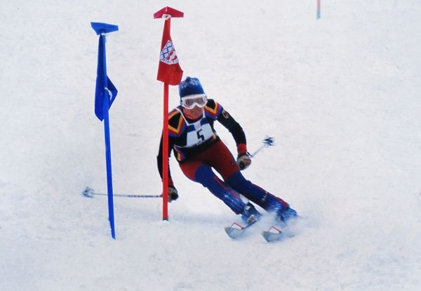 Alpine Skiing - 1976 Innsbruck Winter Olympics - Women's Slalom West Germany's Rosemarie 'Rosi' Mittermaier on the way to winning the gold medal at the Axamer Lizum, Axams, Austria