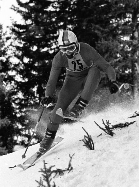 Alpine Skiing - 1976 Innsbruck Winter Olympics - Men's Downhill Training West Germany's Peter Fischer at the Patscherkofel, Igls, Austria. He would finish in 15th place in the Downhill competition the next day. 04/02/1976