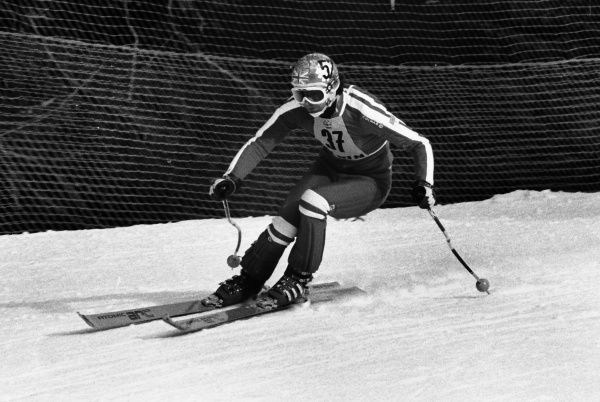 Alpine Skiing - 1976 Innsbruck Winter Olympics - Men's Downhill Training Great Britain's Peter Fuchs at the Patscherkofel, Igls, Austria. The next day, in the Downhill competition proper, he finished in tied for 37th place. 04/02/1976