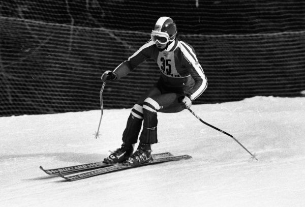 Alpine Skiing - 1976 Innsbruck Winter Olympics - Men's Downhill Training Great Britain's Stuart Fitzsimmons at the Patscherkofel, Igls, Austria. The next day, in the Downhill competition proper, he would finish in 32nd place. 04/02/1976