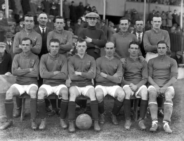 Football - 1923 British Home Championship - England 2 Ireland 0 Ireland Team Group before the game at The Hawthorns, West Bromwich. Back Row (left to right): Wiliam 'Billy' Emerson (Glentoran, Burnley and Lindfield), trainer, David Rollo (Linfield