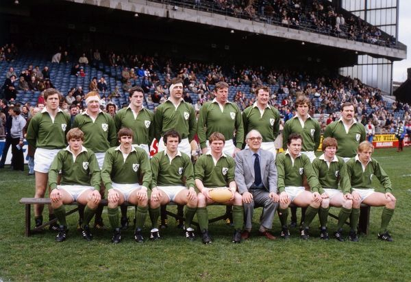 Rugby Union - 1983 Five Nations Championship - Ireland 25 England 15 The Ireland team group before kick-off at Lansdowne Road on 19/03/1983. Back (left to right): Fergus Slattery, Ginger McLoughlin, John O?Driscoll, Donal Lenihan, Moss Keane