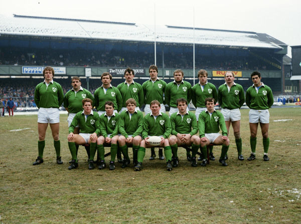 Rugby Union - 1986 Five Nations Championship - England 25 Ireland 20 Ireland team group before kick-off at Twickenham on 01/03/1986. Back (l-r): Brian Spillane, Paul Kennedy, Des Fitzgerald, Brian McCall, Donal Lenihan, Rob Morrow, Hugo MacNeill