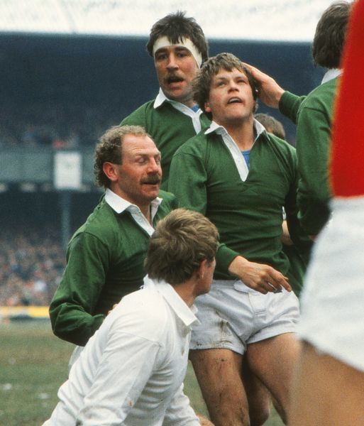 Ireland's Trevor Ringland celebrates his try with Nigel Carr and Donal Lenihan - 1986 Five Nations